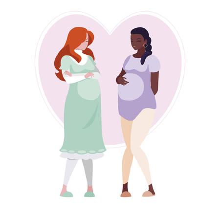 interracial couple of pregnancy women in heart vector illustration design Ilustração