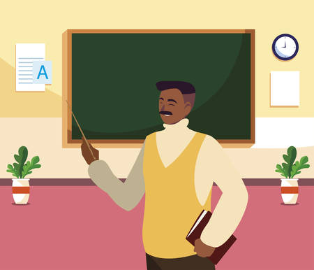 black teacher male with documents in the classroom vector illustration design