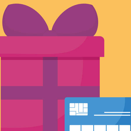 credit card with gift box vector illustration design