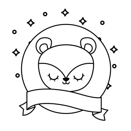 head of cute monkey animal with ribbon vector illustration design Çizim