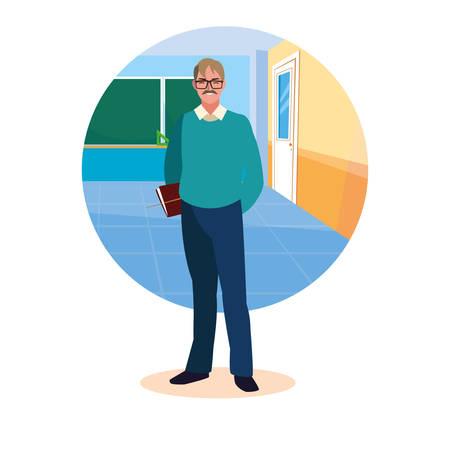 teacher man with frame of classroom vector illustration design Ilustrace