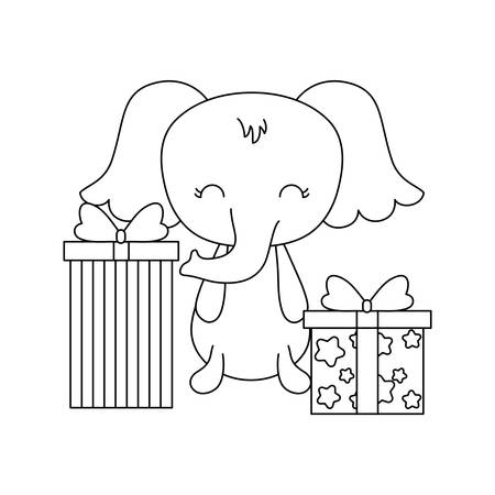 cute elephant with gift boxes vector illustration design Ilustrace