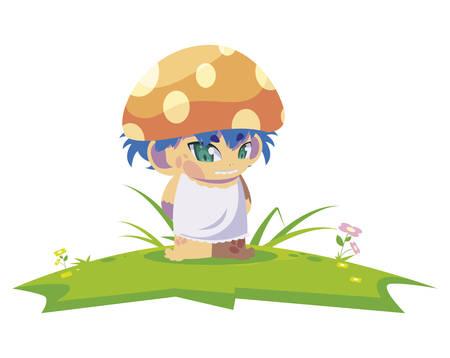 fungu elf in garden magic character vector illustration design Иллюстрация