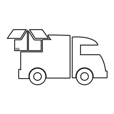 truck cardboard box delivery fast free shipping vector illustration