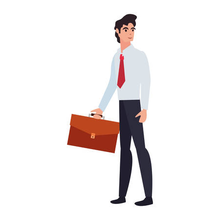 businessman with briefcase on white background vector illustration Illustration