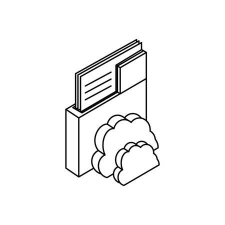 cloud computing server with folder vector illustration design 向量圖像
