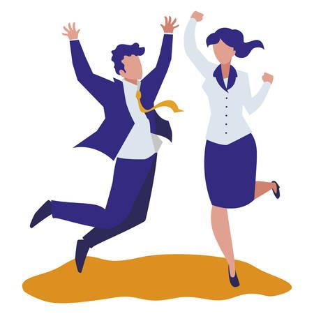 elegant business couple celebrating characters vector illustration design