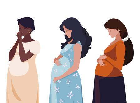 interracial group of pregnancy women in heart vector illustration design Ilustração