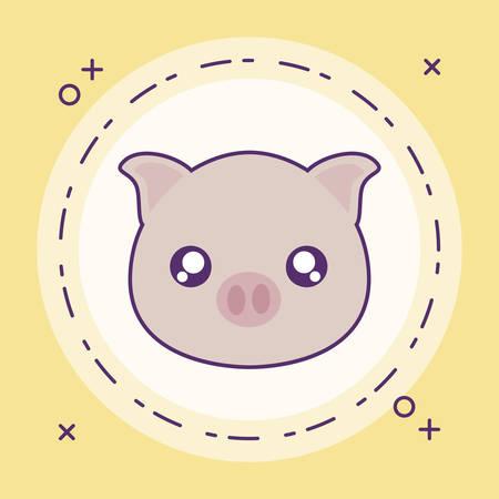 cute little piggy baby with frame circular vector illustration design