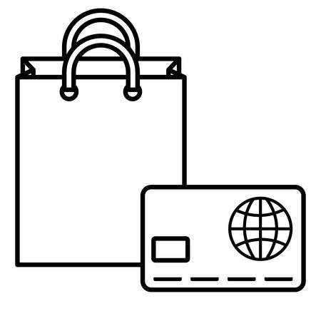 credit card money with shopping bag vector illustration design