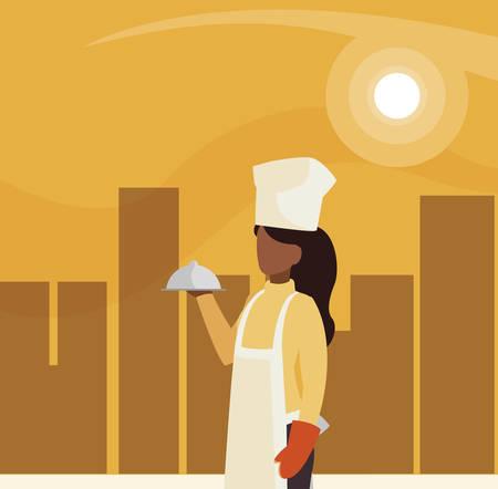 chef female worker avatar character vector illustration design