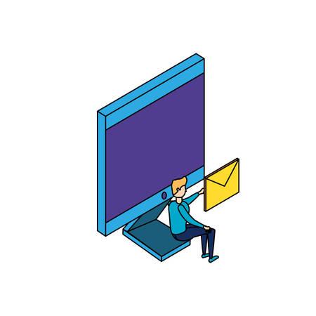 businessman worker with computer and envelope vector illustration design