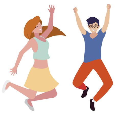 happy young couple celebrating characters vector illustration design Ilustração