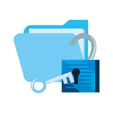 folder padlock unlock key cybersecurity data protection vector illustration Stok Fotoğraf - 131693824