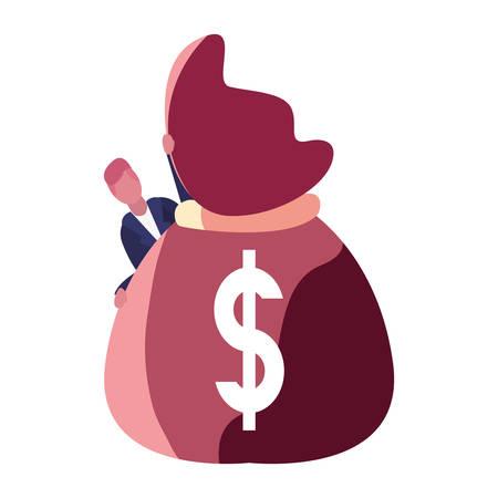 businessman money bag dollar bank vector illustration