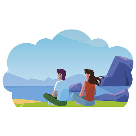 couple contemplating the horizon in the field scene vector illustration design Ilustração