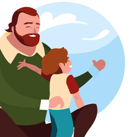 father and son with pattern of sky clouds vector illustration design  イラスト・ベクター素材
