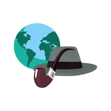 world hat tobacco pipe happy fathers day vector illustration