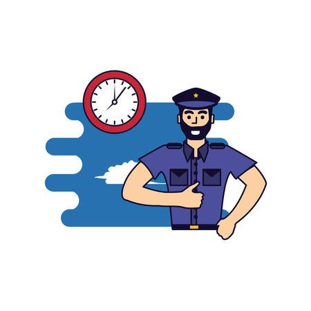 police officer with clock time vector illustration design