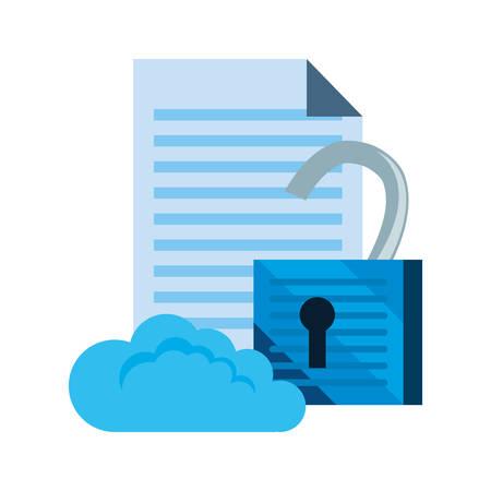 cloud computing padlock information cybersecurity data protection vector illustration