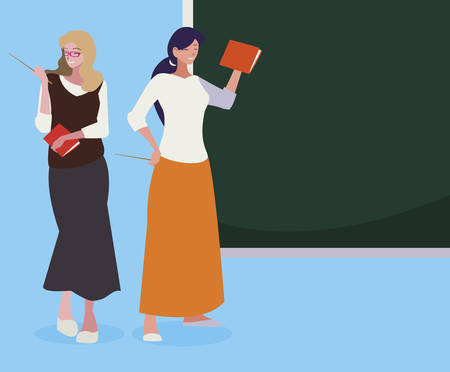 female teachers couple with textbooks and chalkboard vector illustration design 일러스트