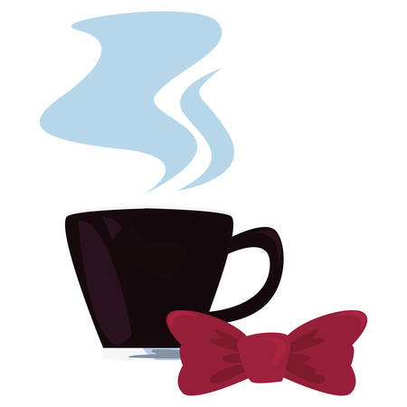 coffee cup bow tie happy fathers day vector illustration  イラスト・ベクター素材