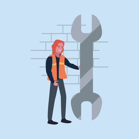 construction worker female wrench vector illustration design Çizim