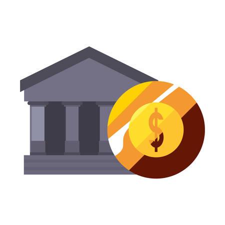 bank coin dollar money on white background vector illustration Ilustrace