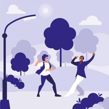 interracial dancers couple in the park vector illustration design Vektorové ilustrace