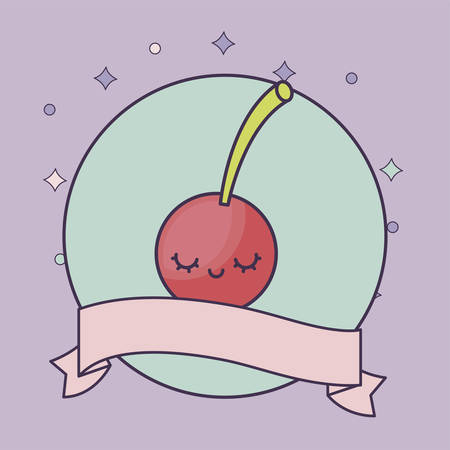 fresh cherry fruit kawaii with ribbon vector illustration design  イラスト・ベクター素材