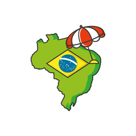 map of brazil with parasol vector illustration design