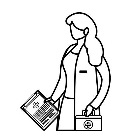 female medicine worker with medical order and kit vector illustration design