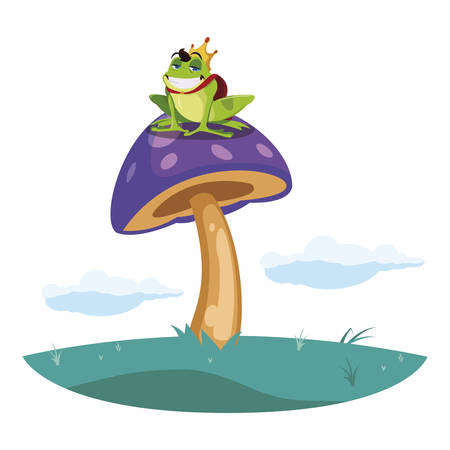 toad prince in garden fairytale character vector illustration design Çizim
