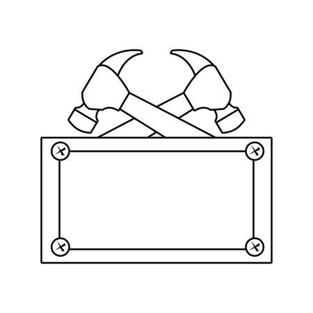 hammers construction board tool vector illustration design Ilustração