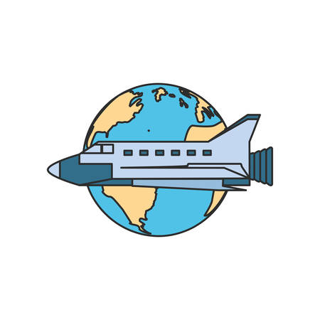 space shuttle with planet earth isolated icon vector illustration design