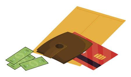 credit card with wallet money vector illustration design Illustration