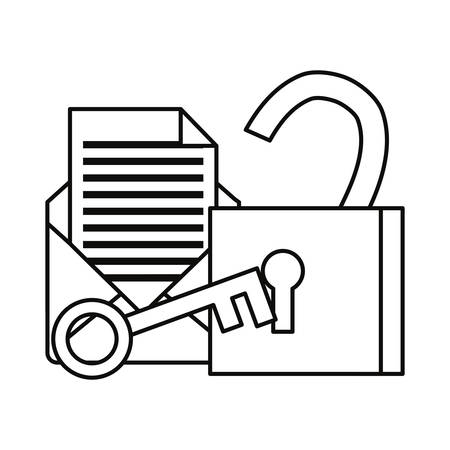 email padlock key cybersecurity data protection vector illustration outline