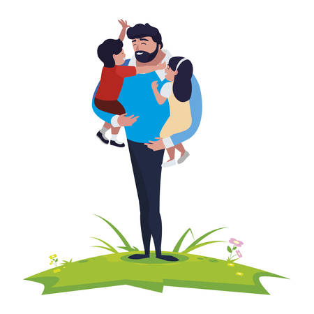 father with son and daughter characters in the field vector illustration design Ilustração