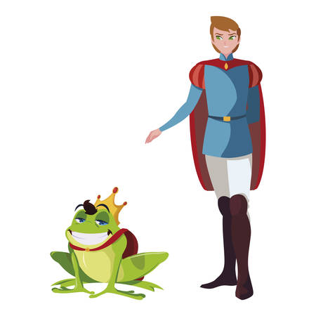 prince charming and toad of tales characters vector illustration design