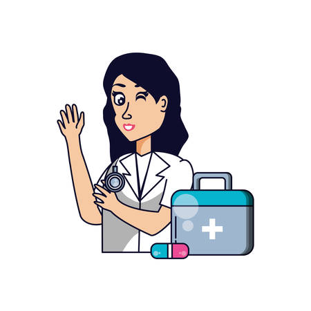 doctor female professional with first aid kit vector illustration design Иллюстрация
