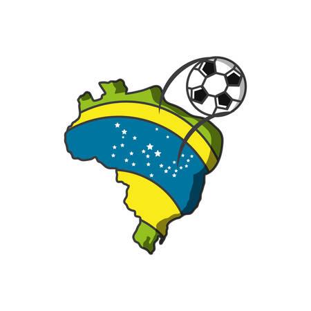 map of brazil with soccer ball vector illustration design Çizim