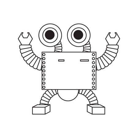 cartoon robot icon over white background black and white design vector illustration Çizim