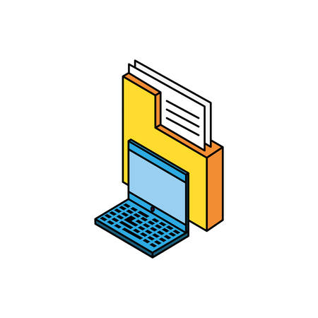 laptop computer with folders vector illustration design