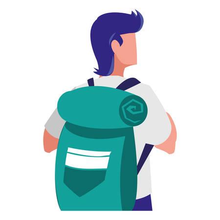 adventurous man with travelbag vector illustration design Ilustracja