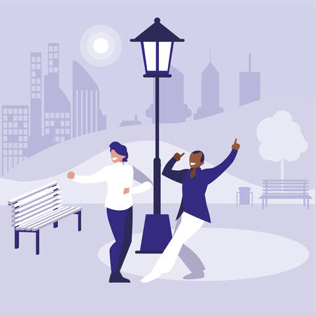 interracial dancers couple in the park vector illustration design