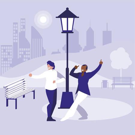 Pareja de bailarines interraciales en el parque, diseño de ilustraciones vectoriales