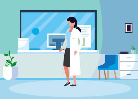 female medicine worker in clinic reception vector illustration design Illusztráció