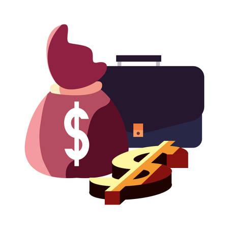 suitcase money bag dollar business vector illustration