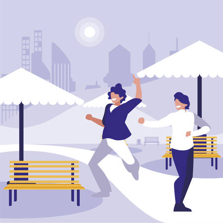 young dancers couple dancing in the park vector illustration design
