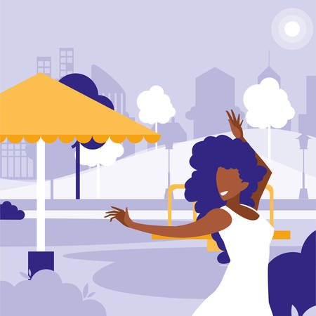 young black woman dancing in the park character vector illustration design Фото со стока - 131827242